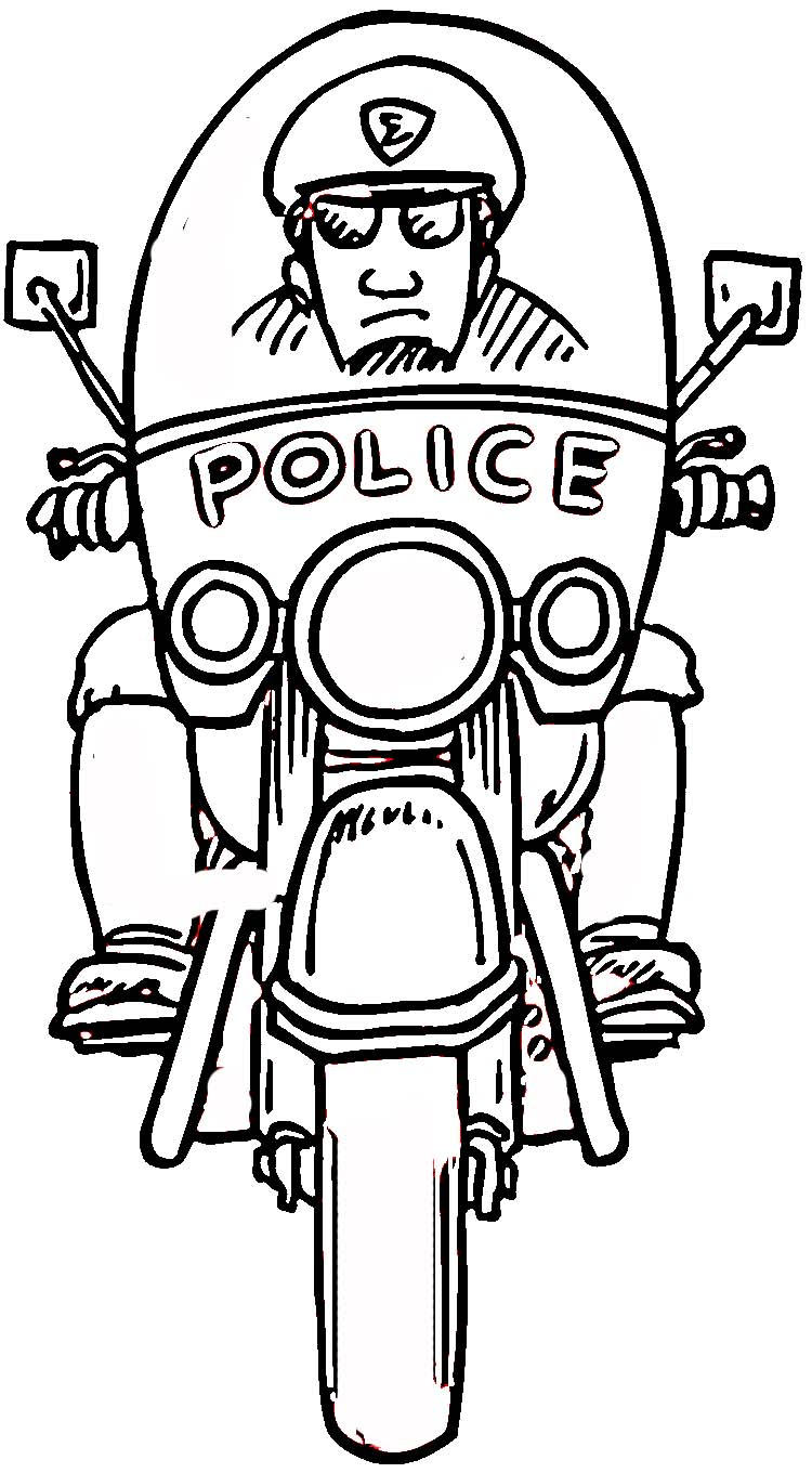 Police Coloring Pages Riding Motorcycle