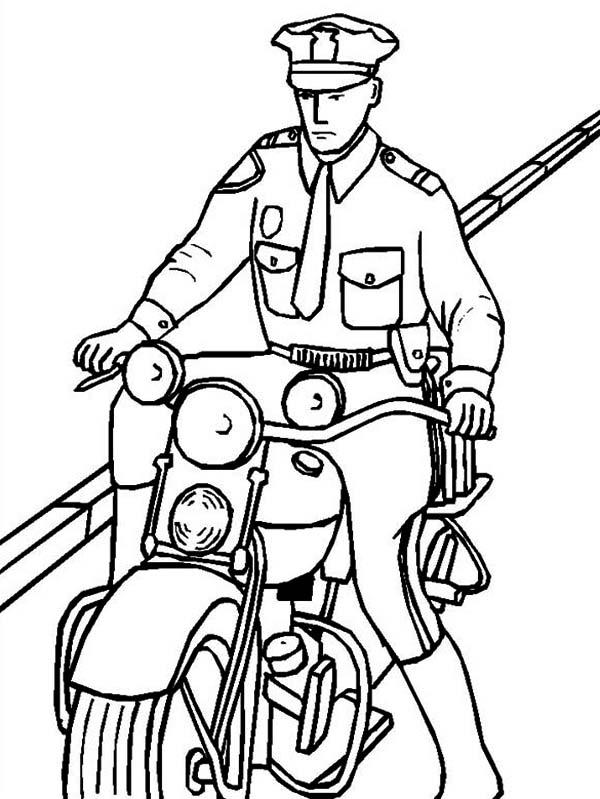 Police motorcycle coloring pages 2