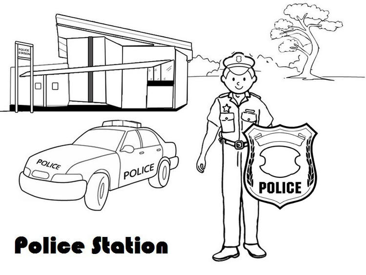 Policeman Outside Police Station Coloring Page For Kids