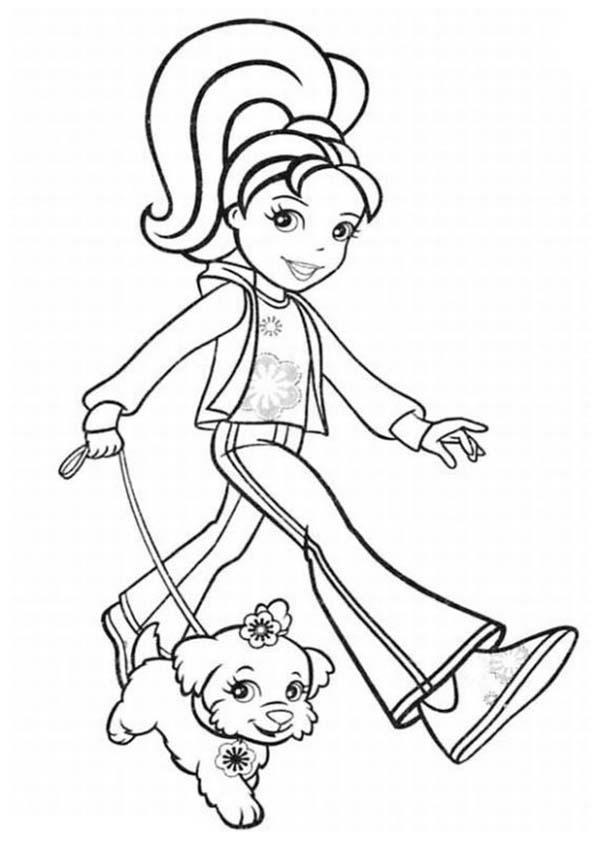 Polly Pocket Take Her Dog Outside Coloring Pages