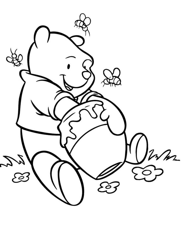 Pooh Coloring Pages Delicious Honey