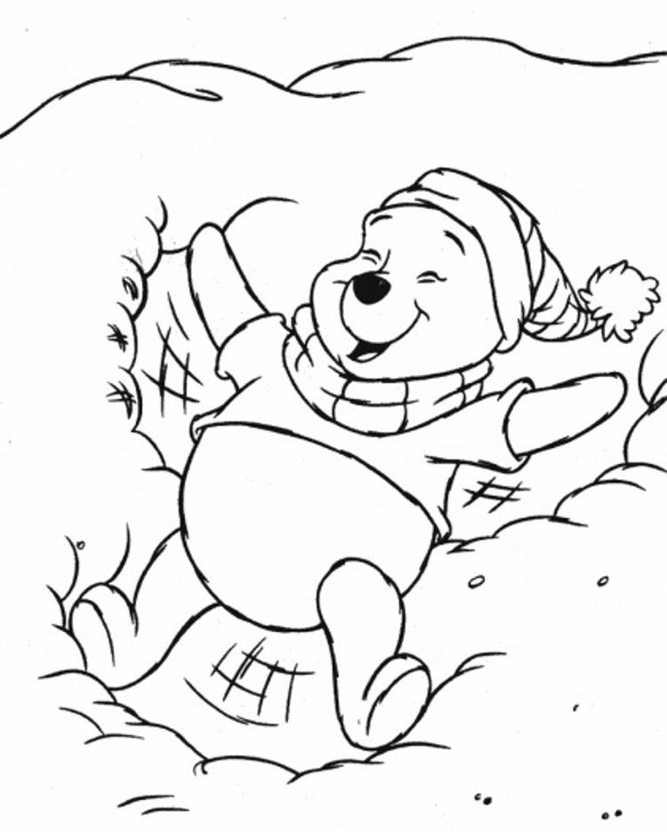 Pooh In The Snow Coloring Pages Printables Winter