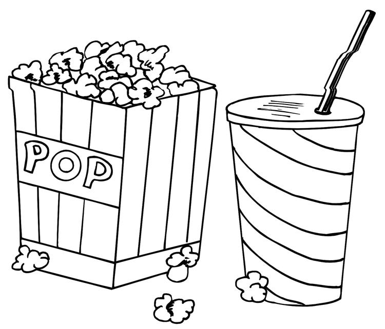 Pop Corn And Drink Coloring Sheet