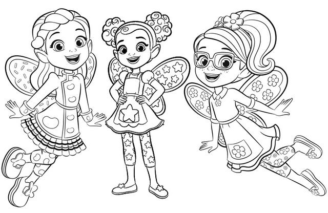 Poppy Butterbean And Dazzle From Butterbeans Cafe Coloring Page
