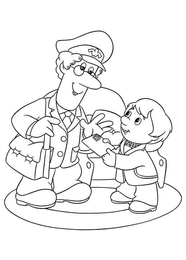 Postman Pat Deliver A Mail To A Little Kid Coloring Pages