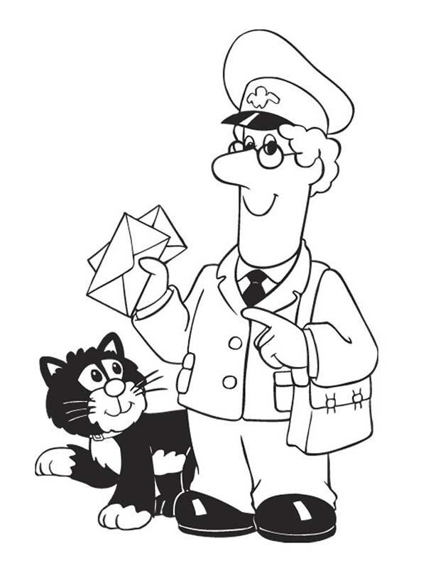 Postman Pat Delivering Mail With Jess Coloring Pages