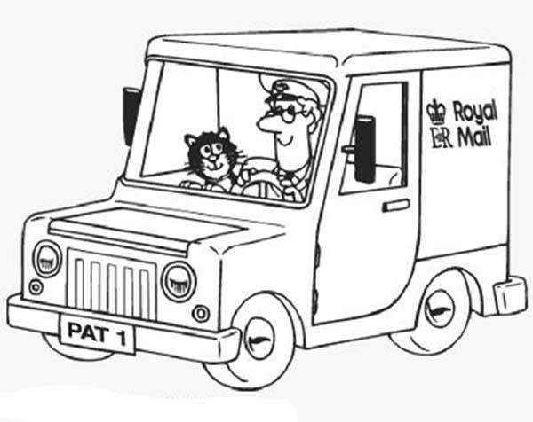 Postman Pat Ride His Royal Mail Car Coloring Pages