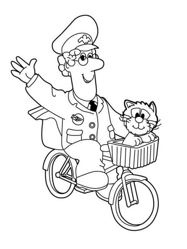 Postman Pat Waving His Hand While Riding Bike Coloring Pages