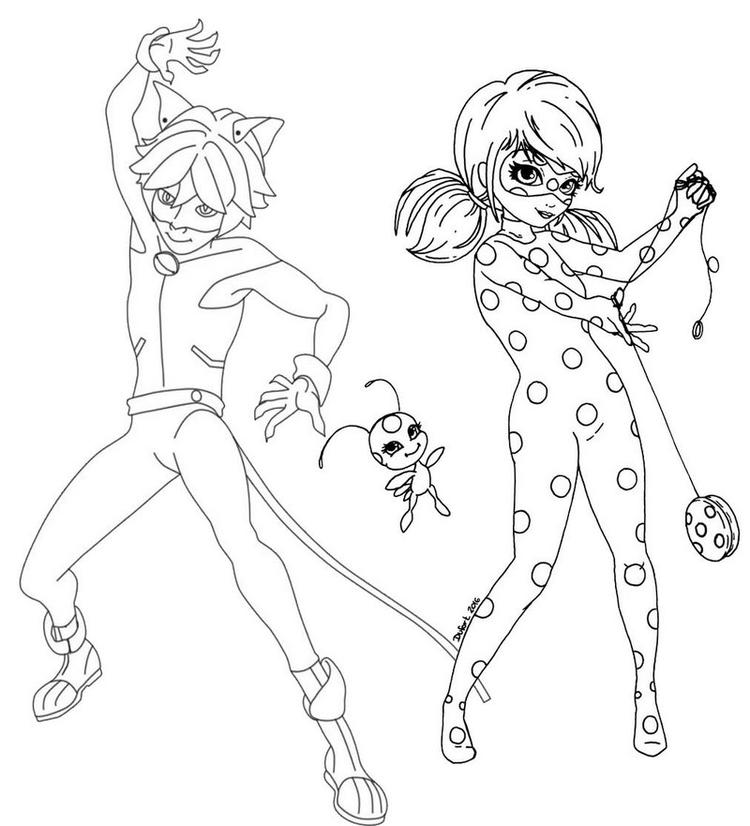 Power Couple Ladybug And Cat Noir Coloring Page Coloring Ideas