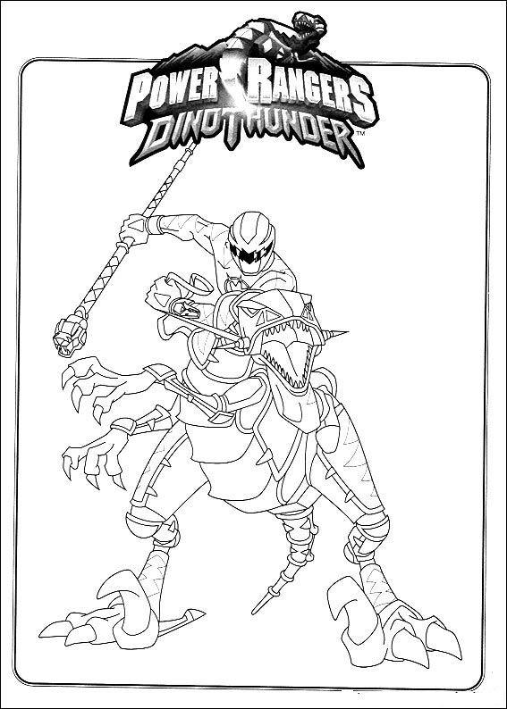 Power Ranger Coloring Pages Dino Thunder Red