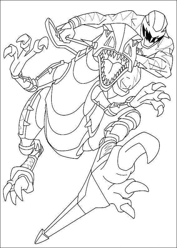 Power Ranger Coloring Pages Dino Thunder