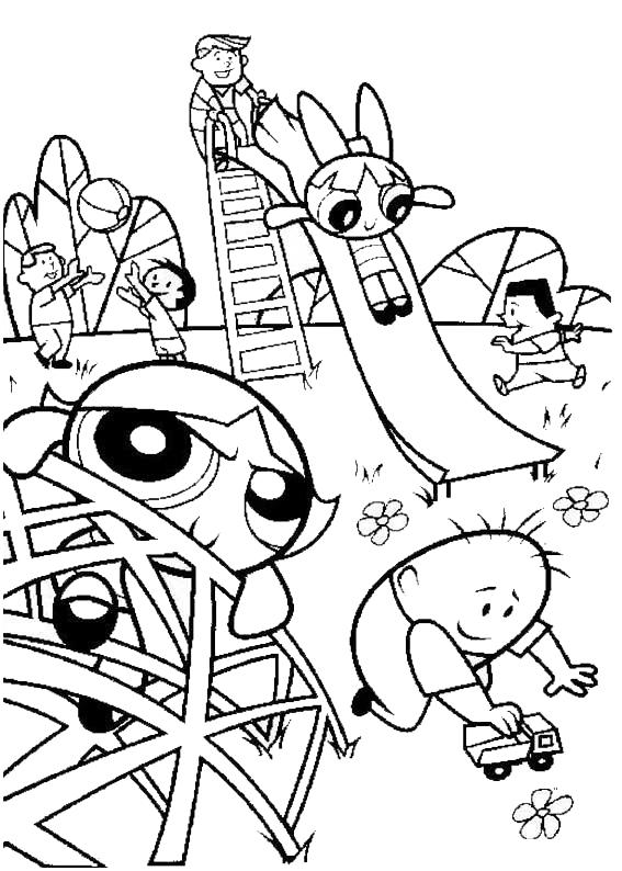 Powerpuff Girls Coloring Pages At The Playground