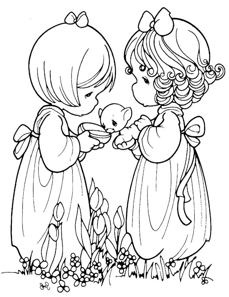 Precious Moments Caring To The Animal Coloring Page