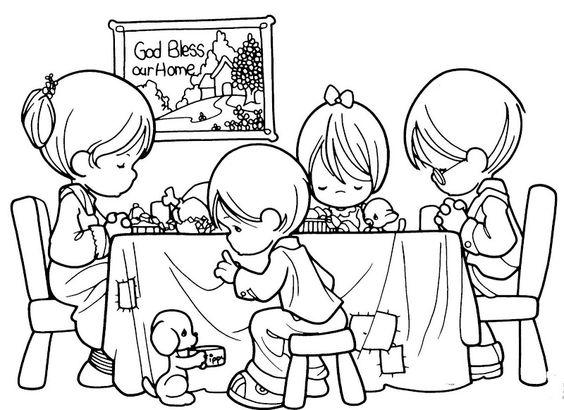 Precious Moments Coloring Pages Dinner