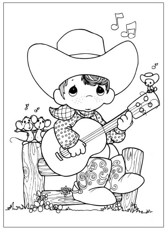 Precious Moments Playing Guitar Coloring Sheet