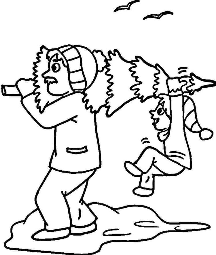 Preparing Tree For Christmas Coloring Pages For Kids