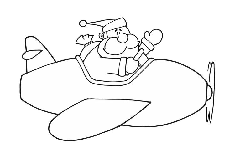Preschool Coloring Pages Airplane And Santa