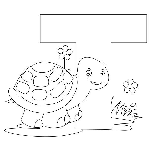 Preschool Kids Learn Letter T Is For Turtle Coloring Page
