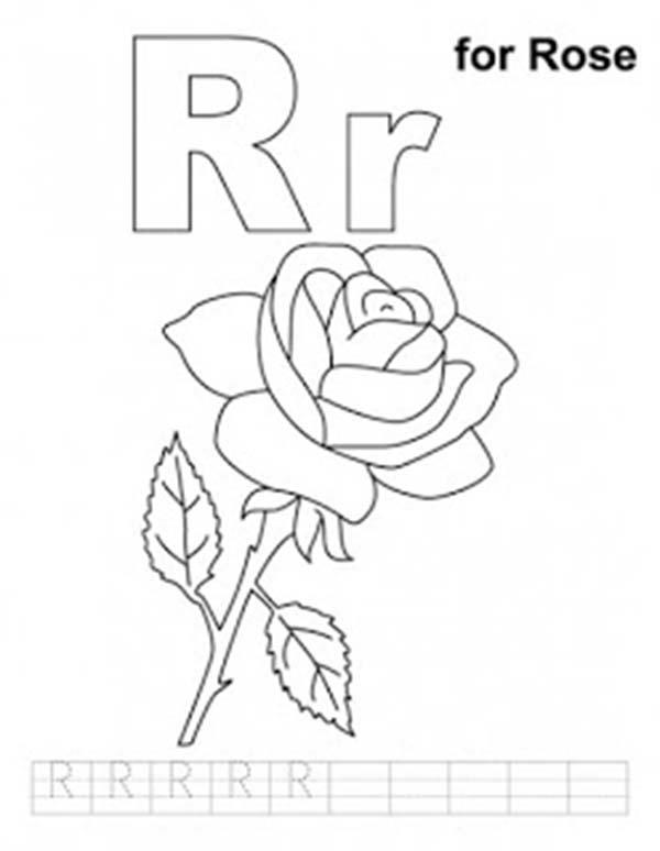 Preschool Kids Learn Upper Case And Lower Case Letter R Coloring Page