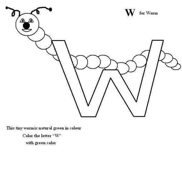Preschool Kids Letter W For Worm Coloring Page