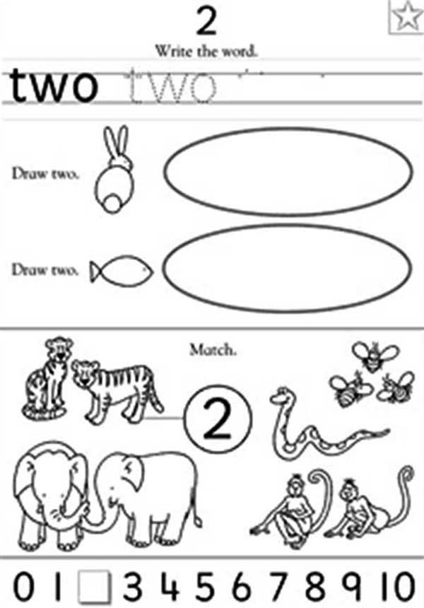 Preschool Learn Number 2 Coloring Page
