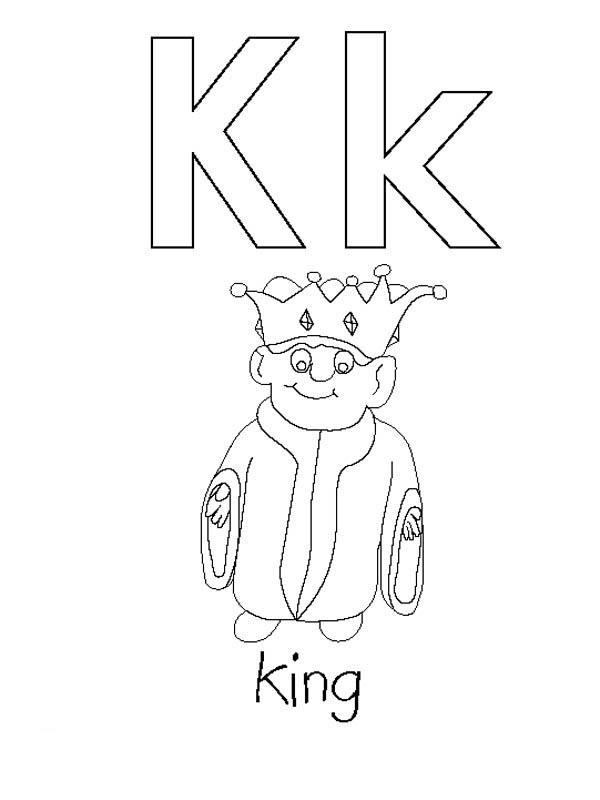Preschool Learning Letter K Coloring Page
