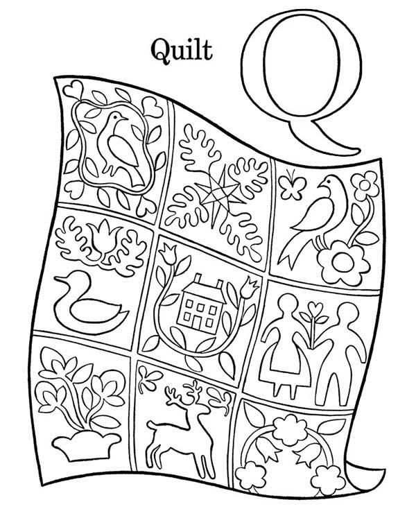 Preschool Learning Letter Q Coloring Page