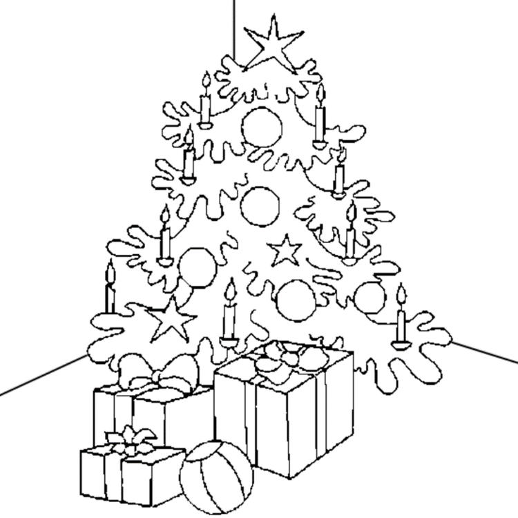 Presents Candle And Christmas Tree Coloring Pages For Kids Printable