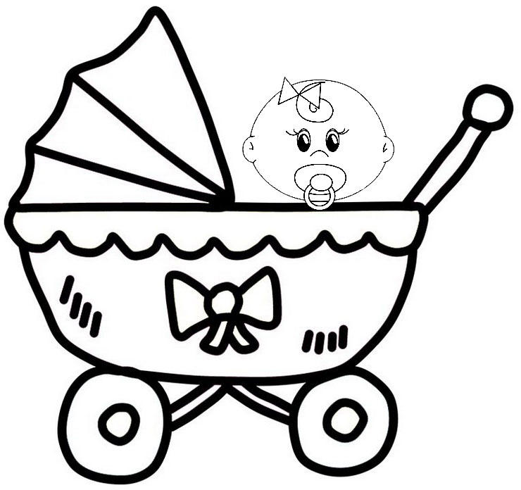 Pretty Awesome Baby Carriage Coloring Sheet For Little Kids
