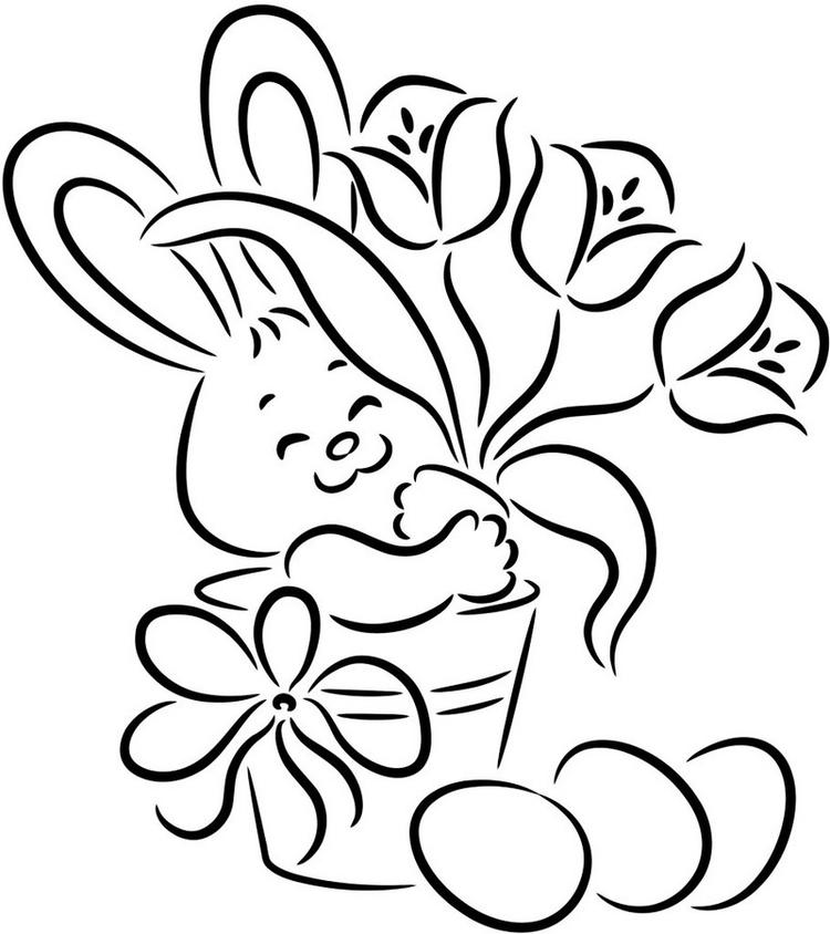 Pretty Awesome Easter Bunny Coloring Page