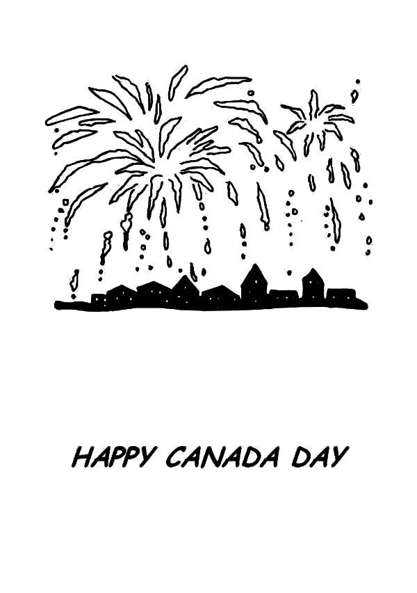 Pretty Fireworks On Canada Day Coloring Pages