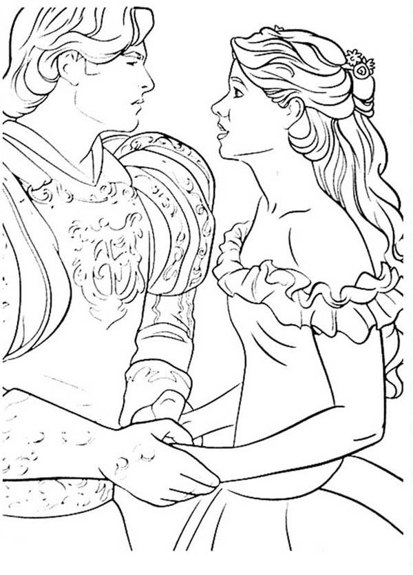 Prince edward and geselle are in love in enchanted coloring pages