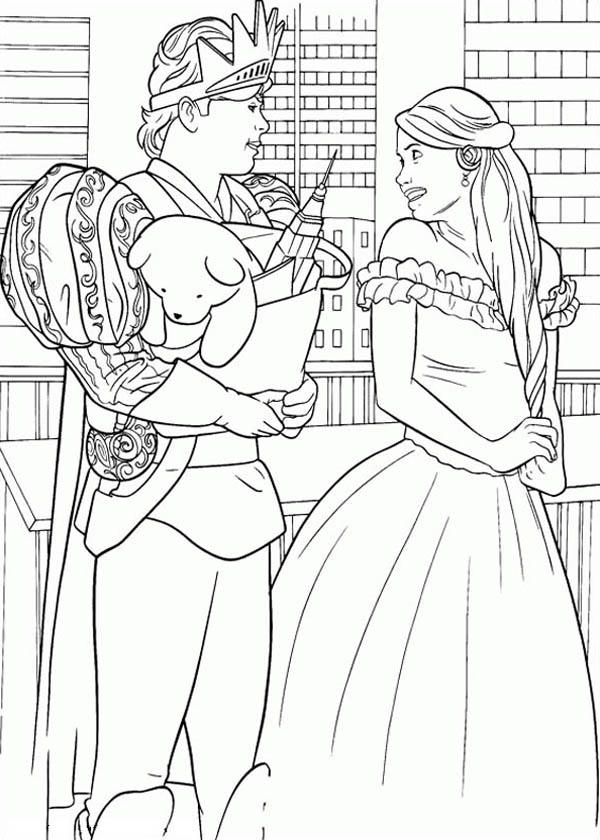 Prince Edward Give Giselle A Puppy In Enchanted Coloring Pages