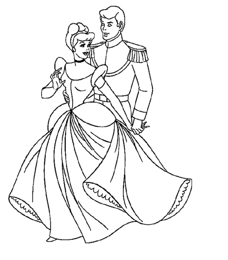 Prince Love Cinderella Coloring Pages For Kids