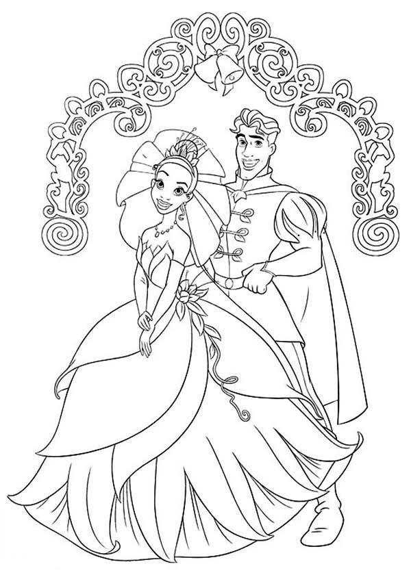 Prince Naveen And Princess Tiana Wedding Day In Princess And The Frog Coloring Pages