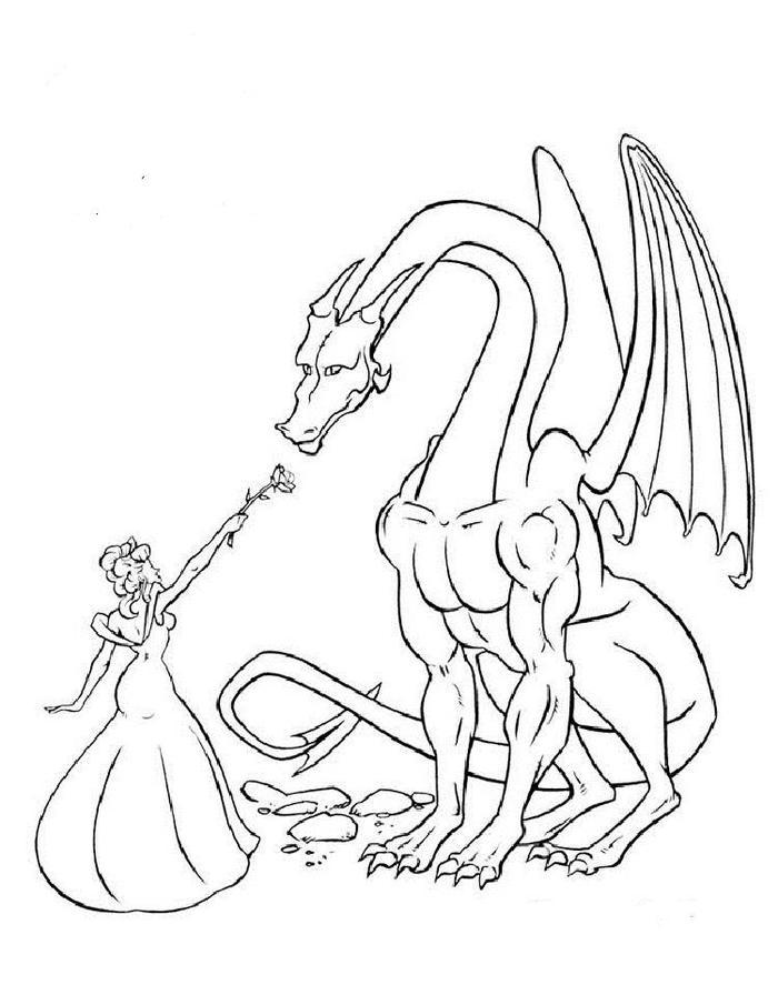 Princess And Dragons Coloring Pages