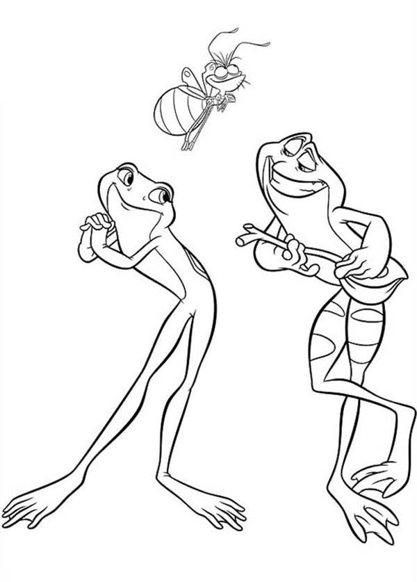 Princess And The Frog Animal Characters Coloring Pages