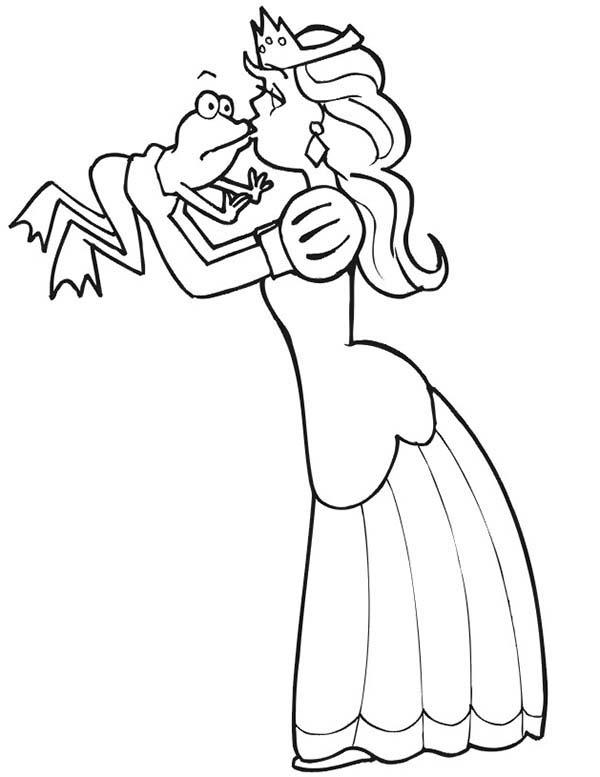 Princess And The Frog Is Kissing Coloring Pages