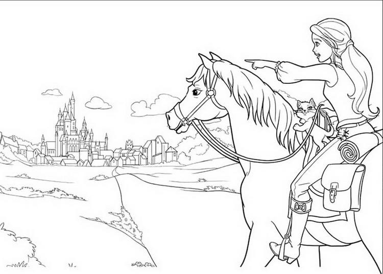 Princess Barbie And Horse Go To Castle Coloring Book