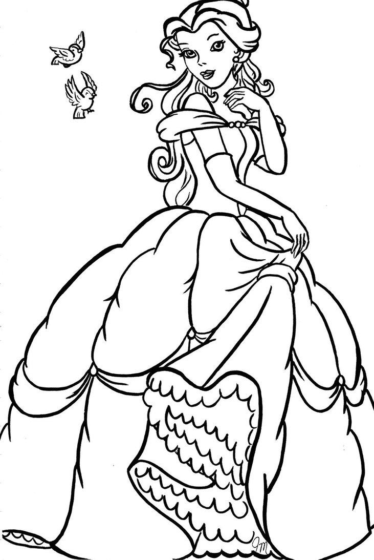 Princess Belle Coloring Pages To Print Out