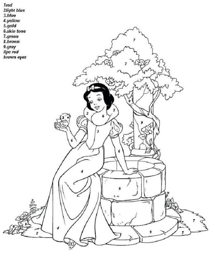 Princess Color By Numbers Coloring Pages