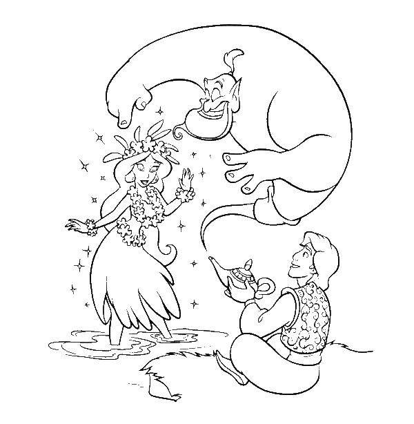 Princess Jasmine Aladdin And Genie Disney Coloring Page