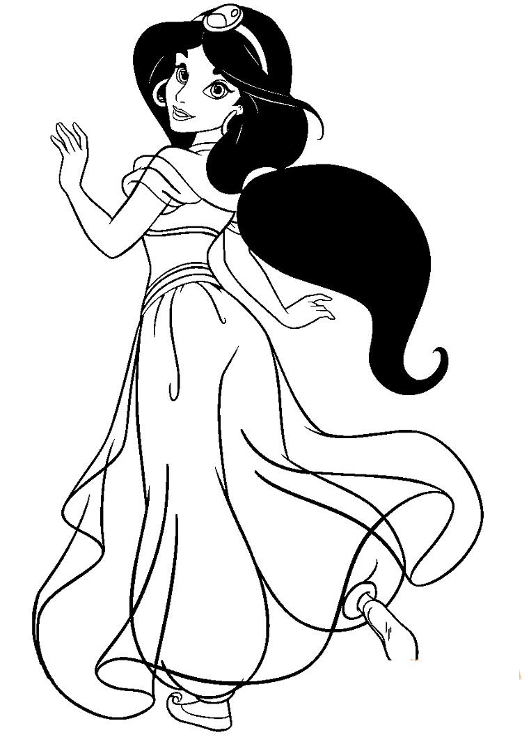 Princess Jasmine Coloring Book Pages