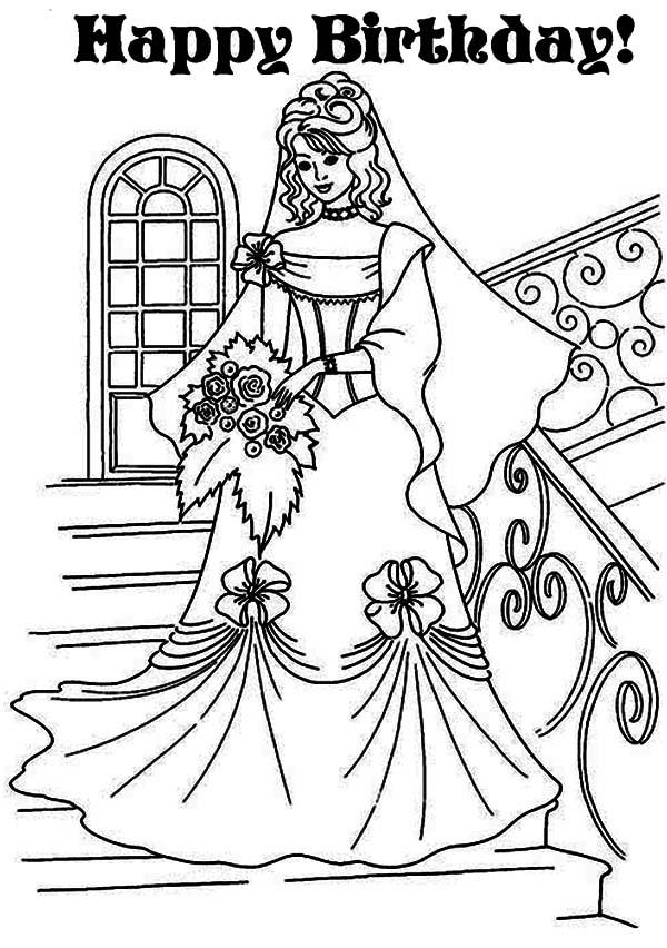 Princess Lovely Dress In Princesses Birthday Coloring Pages