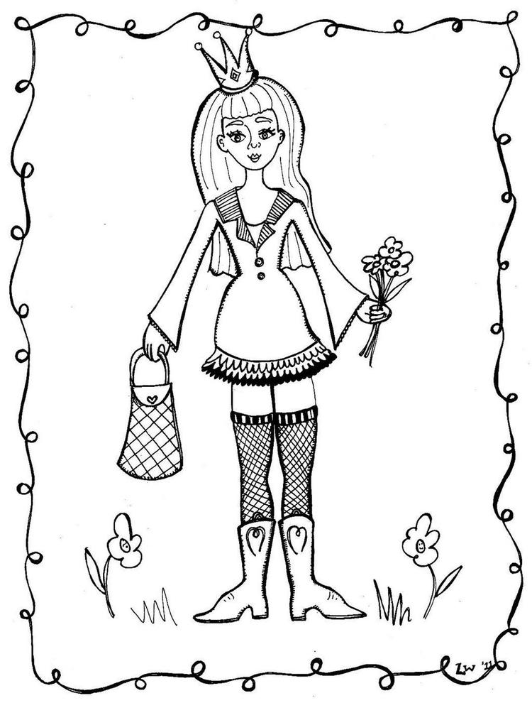 Princess Mother Goose Coloring Page For Girls