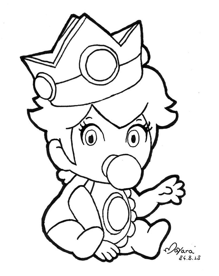 Princess Peach Coloring Pages Baby