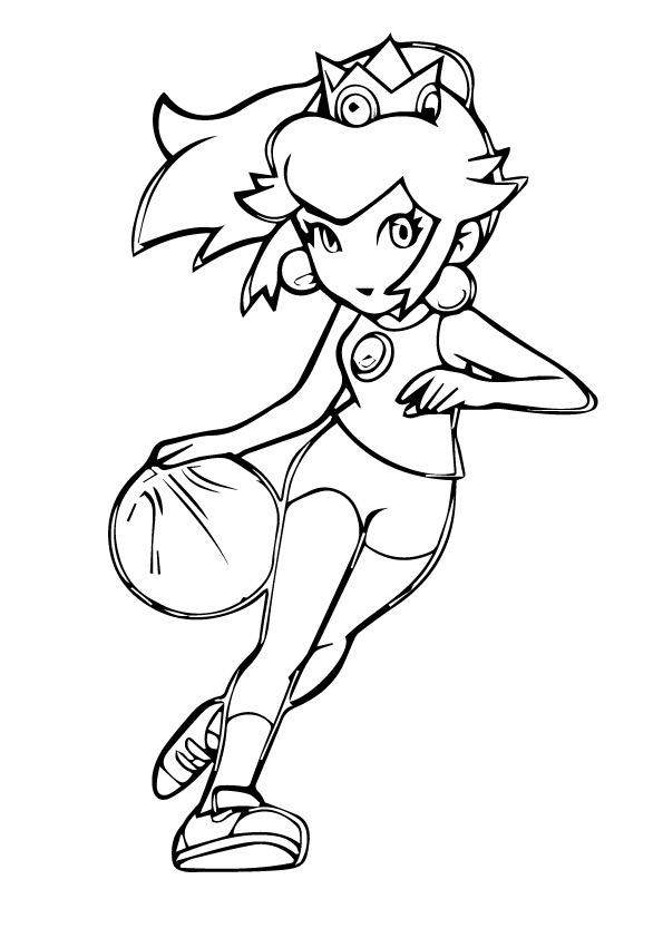 Princess Peach Coloring Pages Playing Basketball