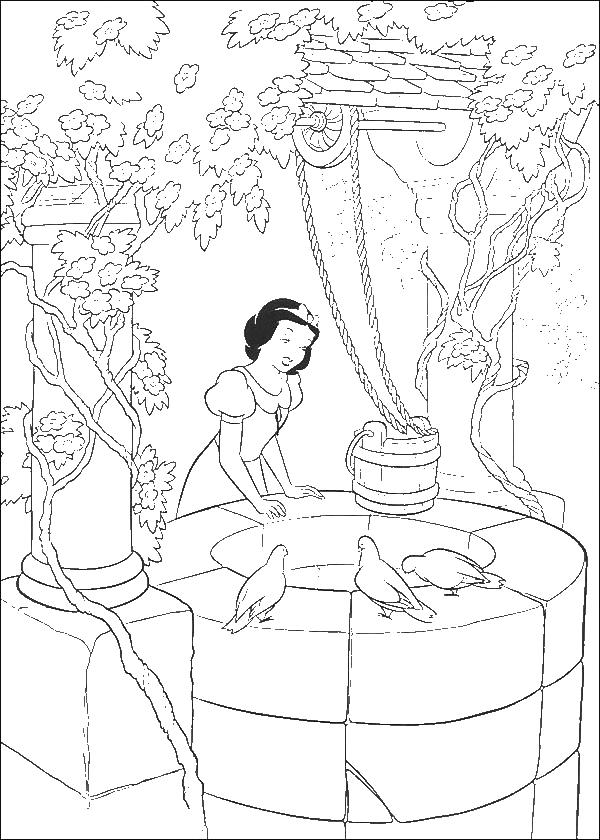 Princess Snow White At The Well Disney Coloring Page