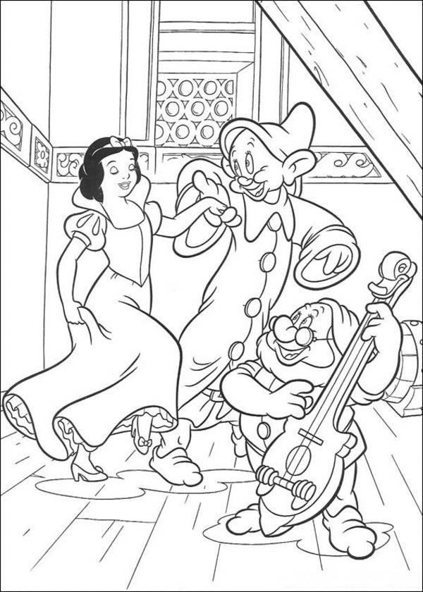 Princess Snow White Dancing With Dopey And Doc Disney Coloring Page