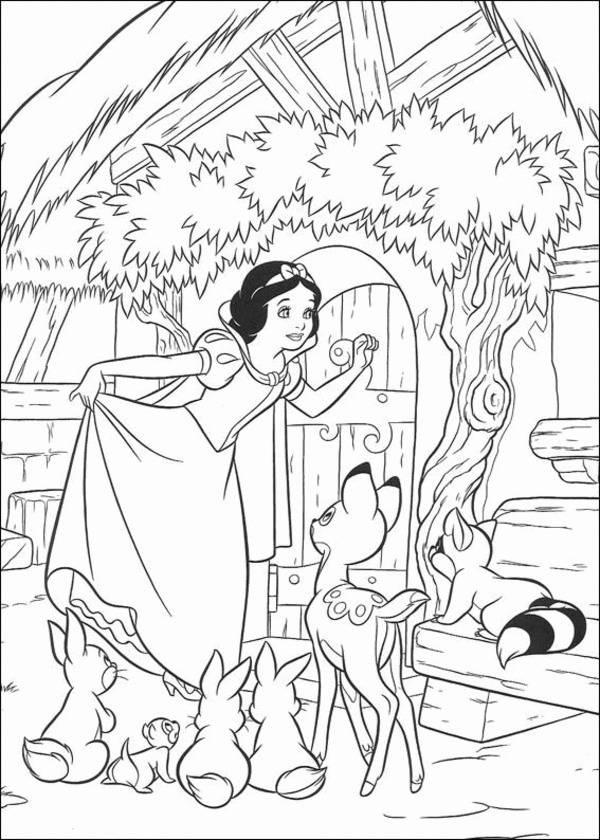 Princess Snow White Knocking The Door Disney Coloring Page